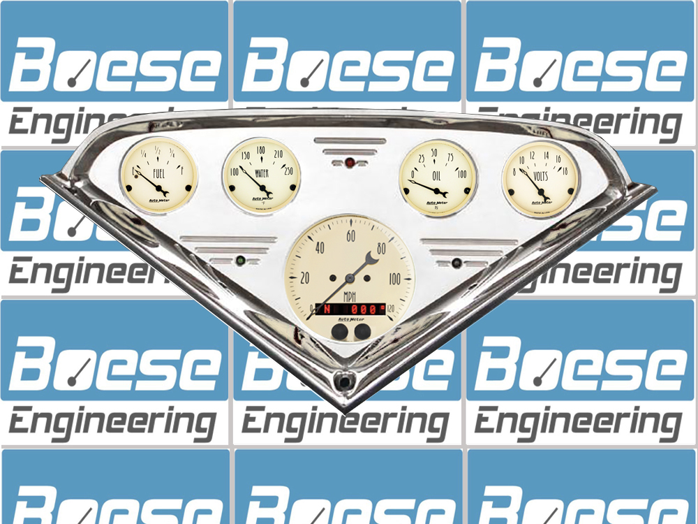 1955 56 57 58 59 Chevy Truck Gauge Panel w/ Auto Meter Gauges Antique Beige Gauges Primary Photo