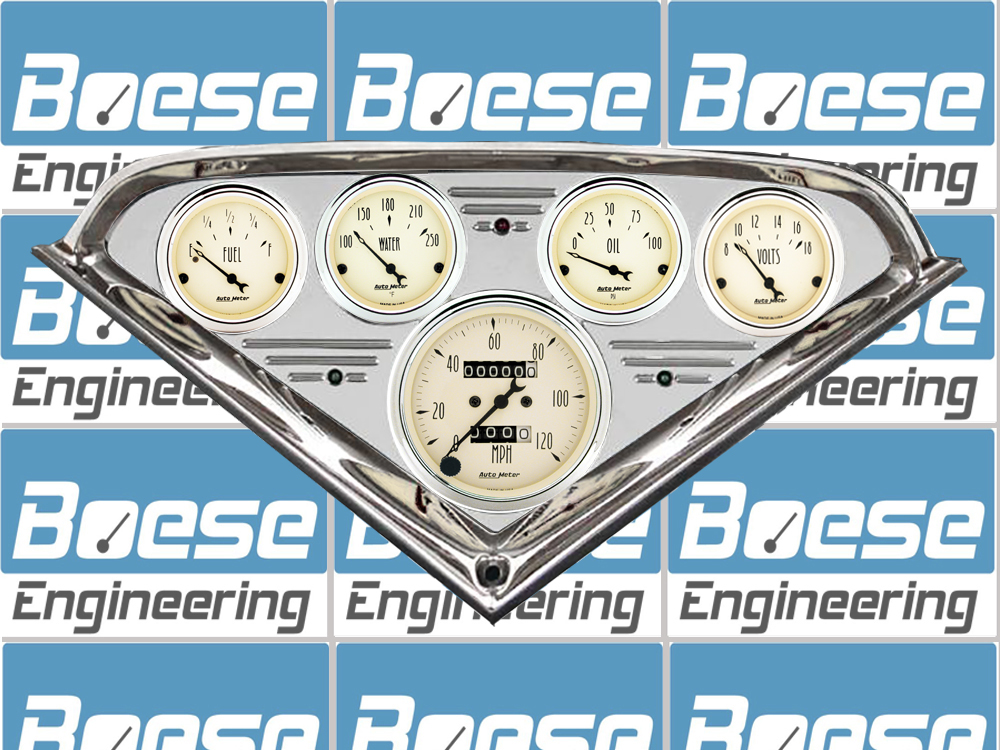 55 56 57 58 59 Chevy Truck Billet Aluminum Dash Insert w/ Auto Meter Antique Beige Gauges Primary Photo