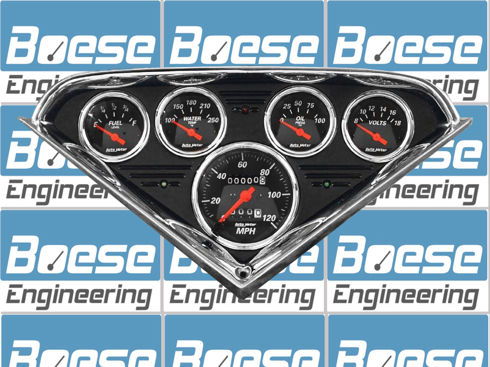 55 56 57 58 59 Chevy Truck black anodized aluminum dash insert w/ Auto Meter Designer Black gauges Primary Photo