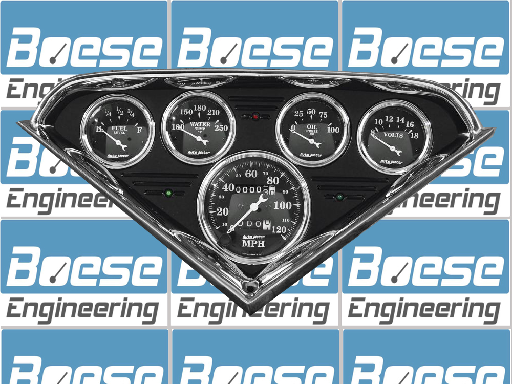 55 56 57 58 59 Chevy Truck black anodized aluminum dash insert w/ Auto Meter Old Tyme Black gauges