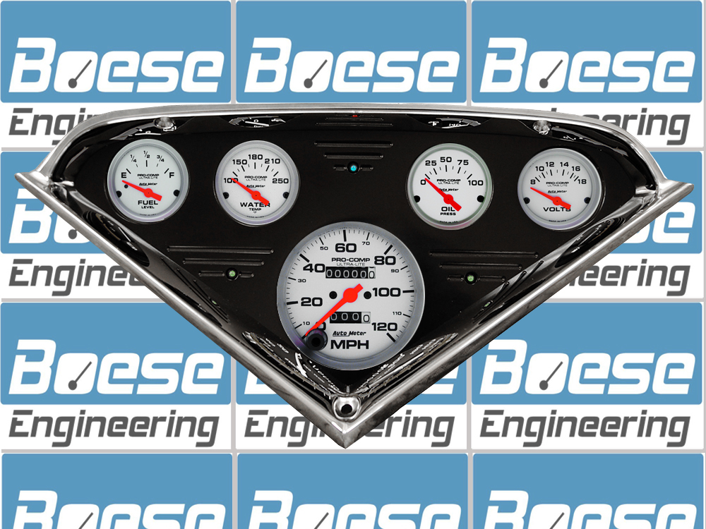 1955 56 57 58 59 Chevy Truck black anodized gauge panel w/ Auto Meter Ultra-Lite Gauges Primary Photo