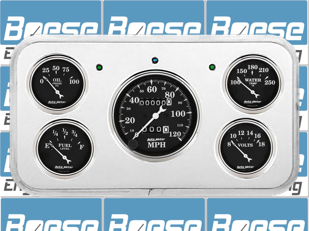 1937 Buick Car Billet Aluminum Dash Insert w/ Auto Meter gauges (fits 80 Roadmaster & 90 Limited)