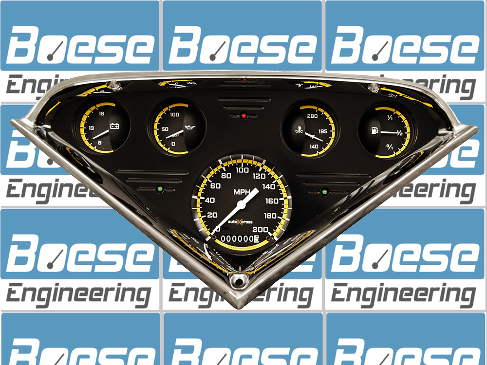 55 56 57 58 59 Chevy Truck Black Anodized Aluminum Gauge Panel w/ Classic Instruments Auto Cross Gauges Primary Photo