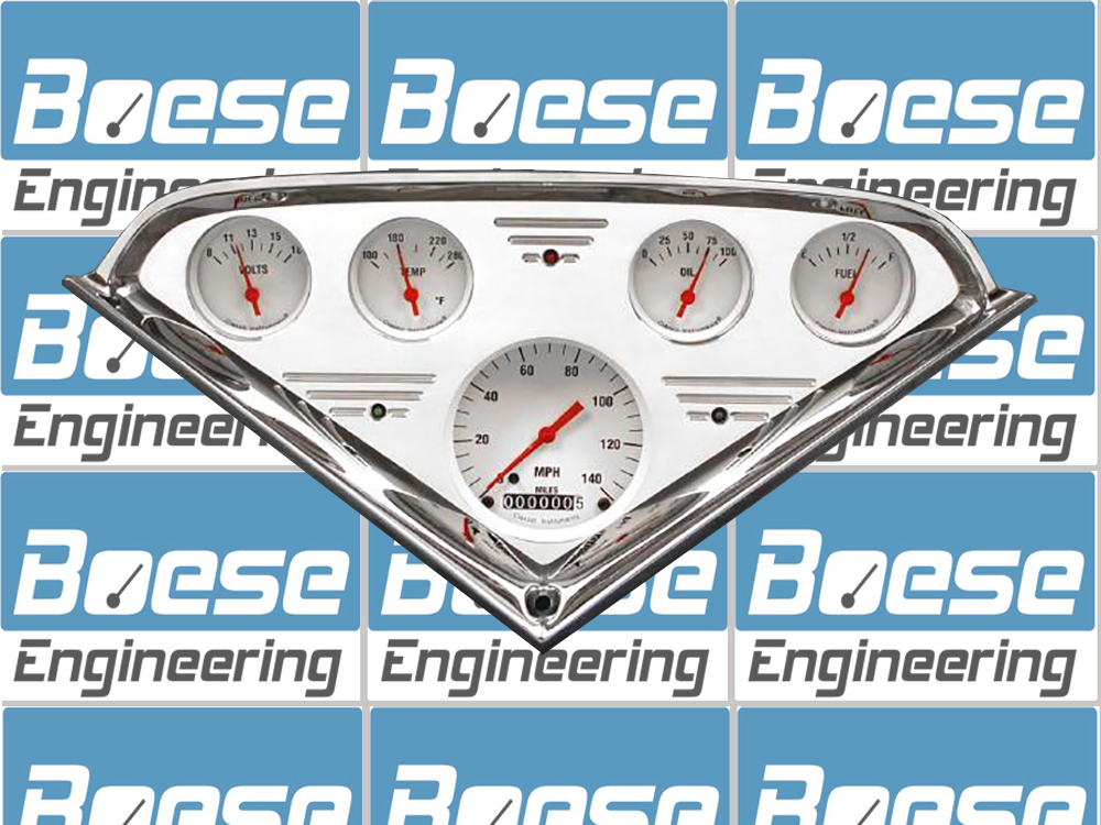 55 56 57 58 59 Chevy Truck billet aluminum gauge panel w/ Classic Instruments White Hot (w/ red pointers) Primary Photo