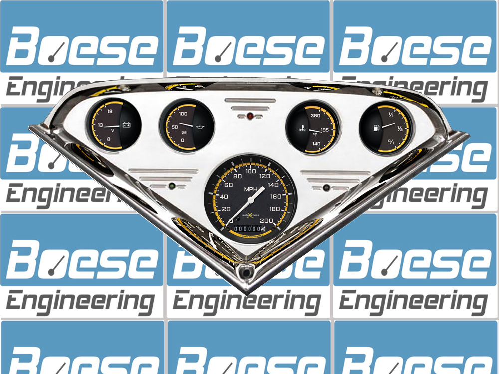 55 56 57 58 59 Chevy Truck Billet Aluminum Gauge Panel w/ Classic Instruments Auto Cross Gauges